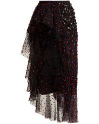 Rodarte - Asymmetric Floral Appliqué Tulle Skirt - Lyst