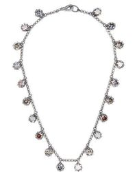 Bottega Veneta - Cubic-zirconia And Oxidised-silver Necklace - Lyst