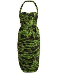 Norma Kamali - Palm Print Ruched Dress - Lyst