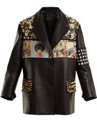 Prada - Contrast Panel Embellished Leather Jacket - Lyst
