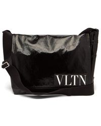 Valentino - Vltn Coated Twill Messenger Bag - Lyst