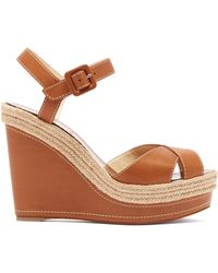 46c53c856ce Christian Louboutin - Almeria Jute Trim Leather Wedges - Lyst