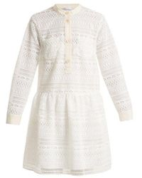 RED Valentino - High-collar Macramé-lace Dress - Lyst