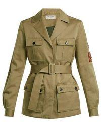 Saint Laurent - Cargo-pocket Belted Military Jacket - Lyst