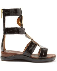 6fd76088fd4 Chloé - Crocodile Effect Leather Gladiator Sandals - Lyst