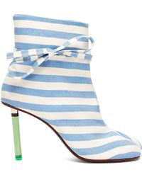 Vetements - Geisha Striped Canvas Lighter Heel Ankle Boots - Lyst