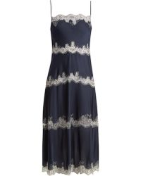 Carine Gilson | Tiered Lace-trimmed Silk-satin Cami Dress | Lyst