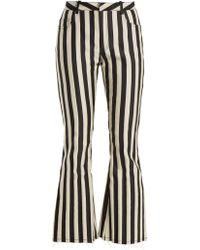 Marques'Almeida - High-rise Striped-satin Kick-flare Trousers - Lyst