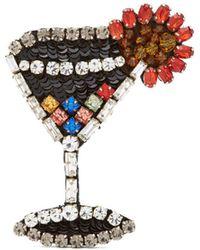N°21 - Crystal Embellished Cocktail Glass Brooch - Lyst