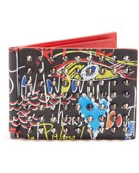 Christian Louboutin - Clipsos Spike Embellished Leather Wallet - Lyst