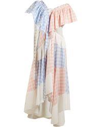 Loewe - Gingham Patchwork Cotton Dress - Lyst