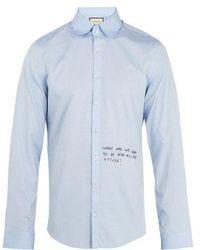 Gucci - Single-cuff Embroidered Oxford-cotton Shirt - Lyst