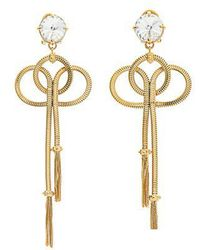 Prada - Crystal-embellished Tassel-drop Clip-on Earrings - Lyst