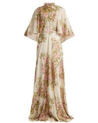 Giambattista Valli - Rose-print High-neck Tiered Silk-georgette Gown - Lyst