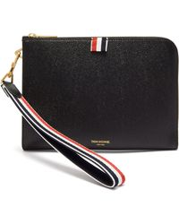 Thom Browne Tricolour Wristlet Grained Leather Folio Pouch - Black