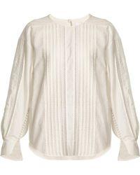 Chloé | Diamond-lace Trimmed Cotton Top | Lyst