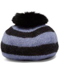 Charlotte Simone - Fur-pompom Striped-wool Beret - Lyst
