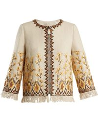 Andrew Gn - Embroidered Linen-blend Jacket - Lyst