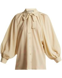 Gucci - Puff-sleeve Silk Crepe De Chine Blouse - Lyst