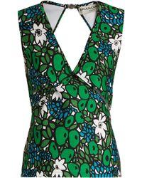 Balenciaga - Floral Print Wrap Style Bonded Jersey Tank Top - Lyst