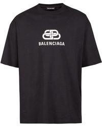 Balenciaga - Men's Logo Stripe Cotton Tee - Black - Lyst