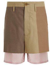 Marni - Pinstriped Layered Wool Shorts - Lyst