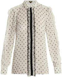Giambattista Valli - Printed Lace-trimmed Silk Blouse - Lyst