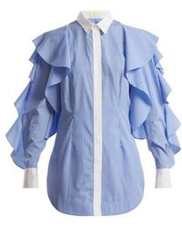Sara Battaglia - Striped Point-collar Shirt - Lyst