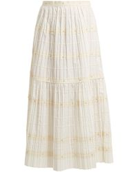RED Valentino - Ric-rac Trimmed Pleated Cotton Skirt - Lyst