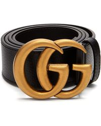 Gucci - Gg Textured Leather Belt - Lyst