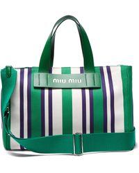 Miu Miu - Striped Logo Tote Bag - Lyst