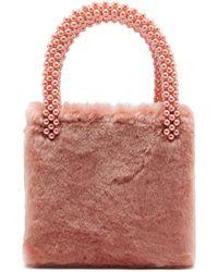 Shrimps - Una Faux Pearl Embellished Faux Fur Bag - Lyst 4cfa936310c25