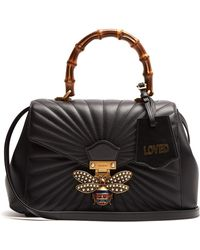 Gucci - Queen Margaret Bamboo Handle Quilted Leather Tote - Lyst