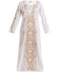 Juliet Dunn - Sequin-embellished Embroidered Cotton Kaftan - Lyst