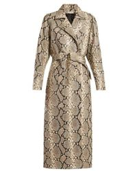 Attico - Python Print Belted Leather Coat - Lyst