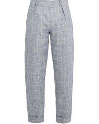 Maison Kitsuné - Checked Linen Cropped Trousers - Lyst