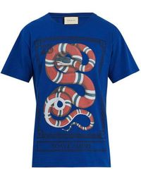 Gucci - Snake-print Cotton-jersey T-shirt - Lyst