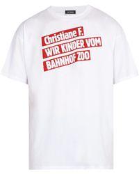 Raf Simons - T-shirt à imprimé titre de film Christiane F. - Lyst