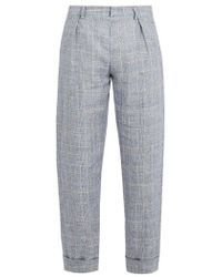 Maison Kitsuné - - Checked Linen Cropped Trousers - Mens - Blue - Lyst
