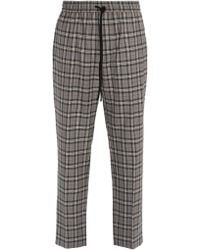 Gucci - Mid Rise Check Wool Trousers - Lyst