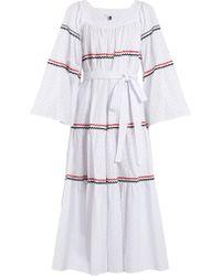 Lisa Marie Fernandez - Rickrack Trimmed Broderie Anglaise Cotton Dress - Lyst