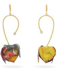 Marni - Floral Print Flower Drop Earrings - Lyst