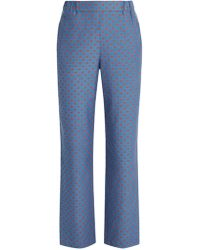 MUVEIL | Lip-print Straight-leg Trousers | Lyst