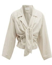 Lemaire - Knot Front Crinkled Cotton Crepe Jacket - Lyst
