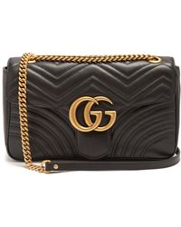 Gucci - Black GG Marmont Small Matelassé Leather Shoulder Bag - Lyst