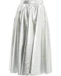 83f15c8752 MSGM - Metallic Faux Leather Flared Midi Skirt - Lyst