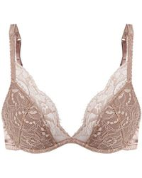 Fleur Of England - Silk-blend And Lace Plunge Bra - Lyst