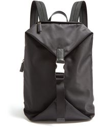 c794d44fa3dff2 Prada - Leather Trimmed Buckle Fastening Nylon Backpack - Lyst