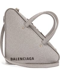 Balenciaga - Triangle Duffle S Glittered Leather Bag - Lyst