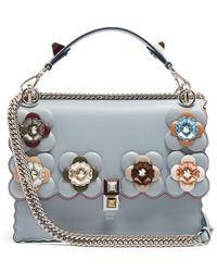 Fendi - Kan I Flower-embellished Leather Shoulder Bag - Lyst